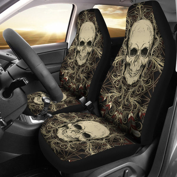 Skull with Ornamental Composition Car Seat Covers