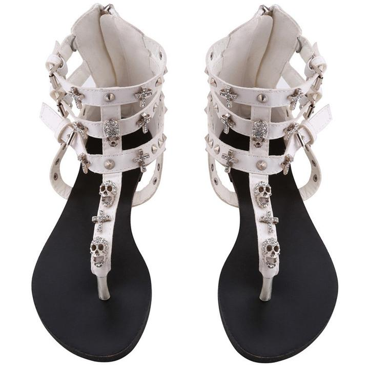 Gothic Rhinestone Crosses and Skull Sandals