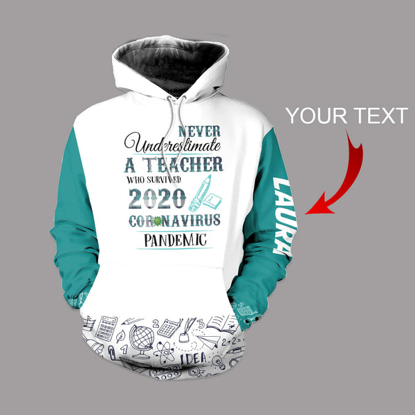 Personalized Never Under Estimate An Educator US Unisex Size Hoodie