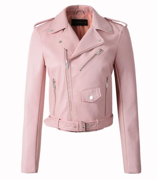 Joyce Pastel Motorcycle Slim PU Leather Jackets