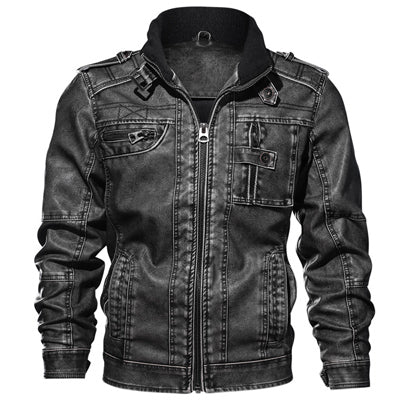 Men Vintage Motorcycle Leather Jacket