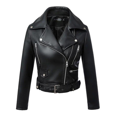 Winter Black Faux Leather Jackets with Zipper,Turn-down Collar Band Belt
