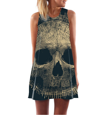 Skull Sleeveless Above Knee Boho Dress