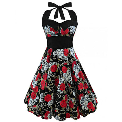 Retro Vintage Style Halter Plus Size Dress - designfullprint
