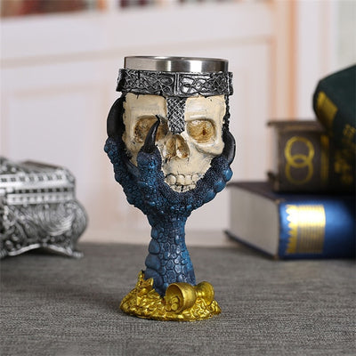 Coolest Gothic Resin Stainless Steel Dragon Skull Claw  Wine Glasses - designfullprint