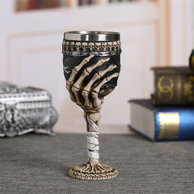 Coolest Gothic Resin Stainless Steel Dragon Skull Claw  Wine Glasses