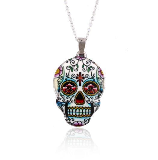 Colorful Skull Pendant Necklace - designfullprint