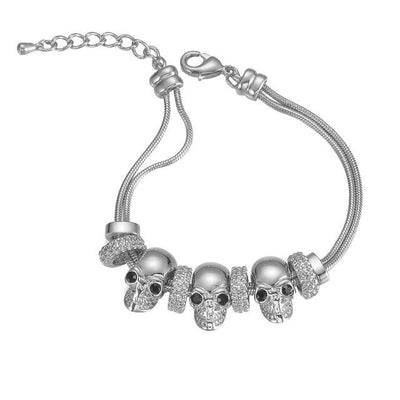 Zinc Alloy Three Skull Bracelets