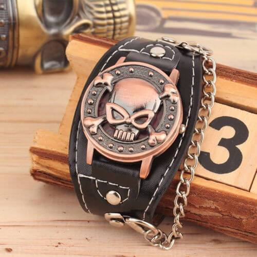 Bikers Metal Skull Leather Chain Bracelet Wrist Watch