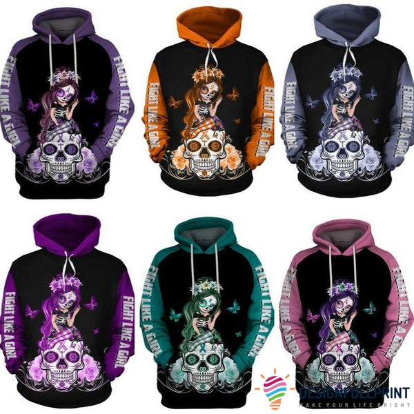Multi-color Sugar Skull Girl Cancer Awareness Hoodie