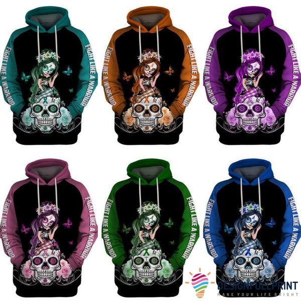 Fight Like A Warrior™ Multi-color Sugar Skull Girl Cancer Awareness Hoodie