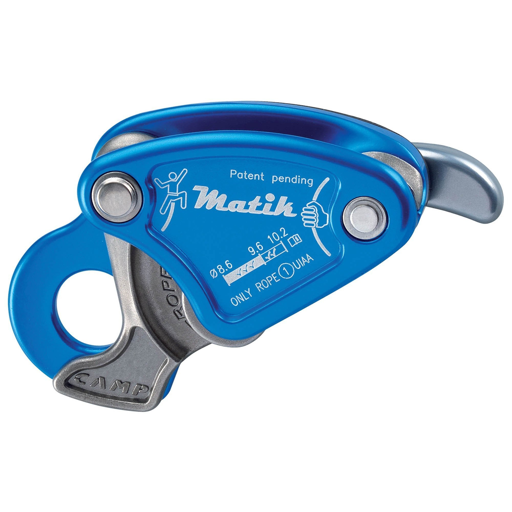 Camp Matik sport climbing belay device, in blue colour
