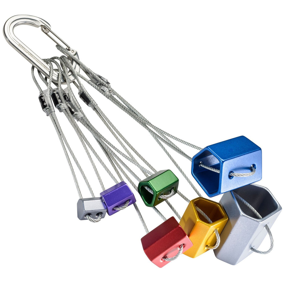 Black Diamond Wired Hexentric nut Set with sizes 4-10 shown in various colours gathered on a biner