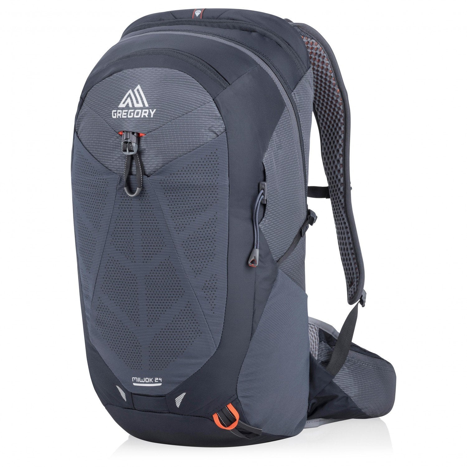 Gregory Miwok 24 backpack, front/side view in navy blue and grey colours