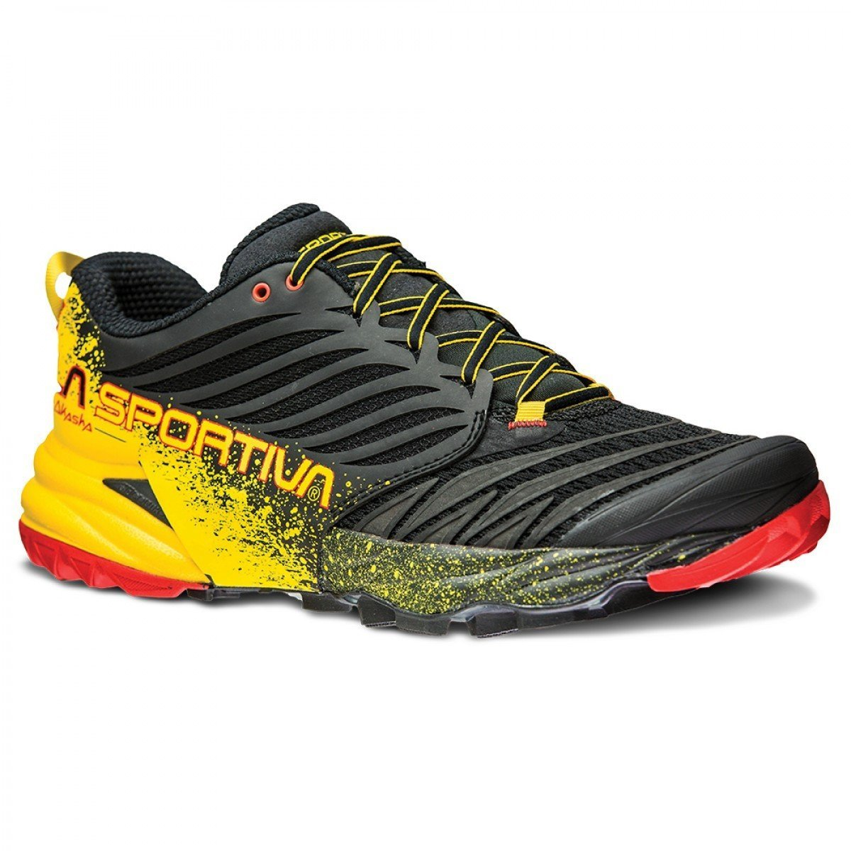 La Sportiva Akasha running shoe, outer side view in Black/Yellow/red colours