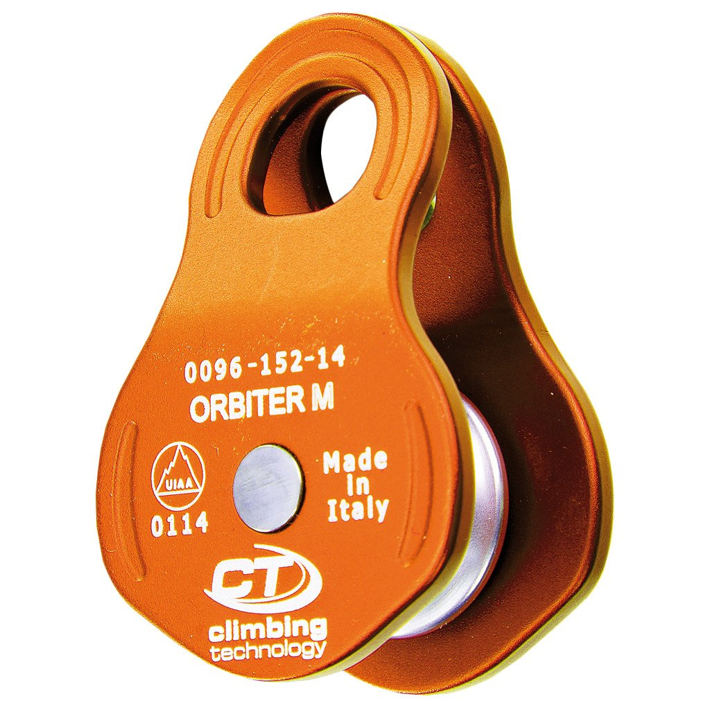 Climbing Technology Orbiter M pulley, front/side view in orange colour