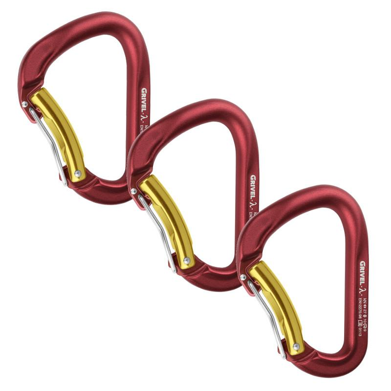3 Grivel Lambda Twin Gate climbing carabiners shown side by side in maroon red and gold colours