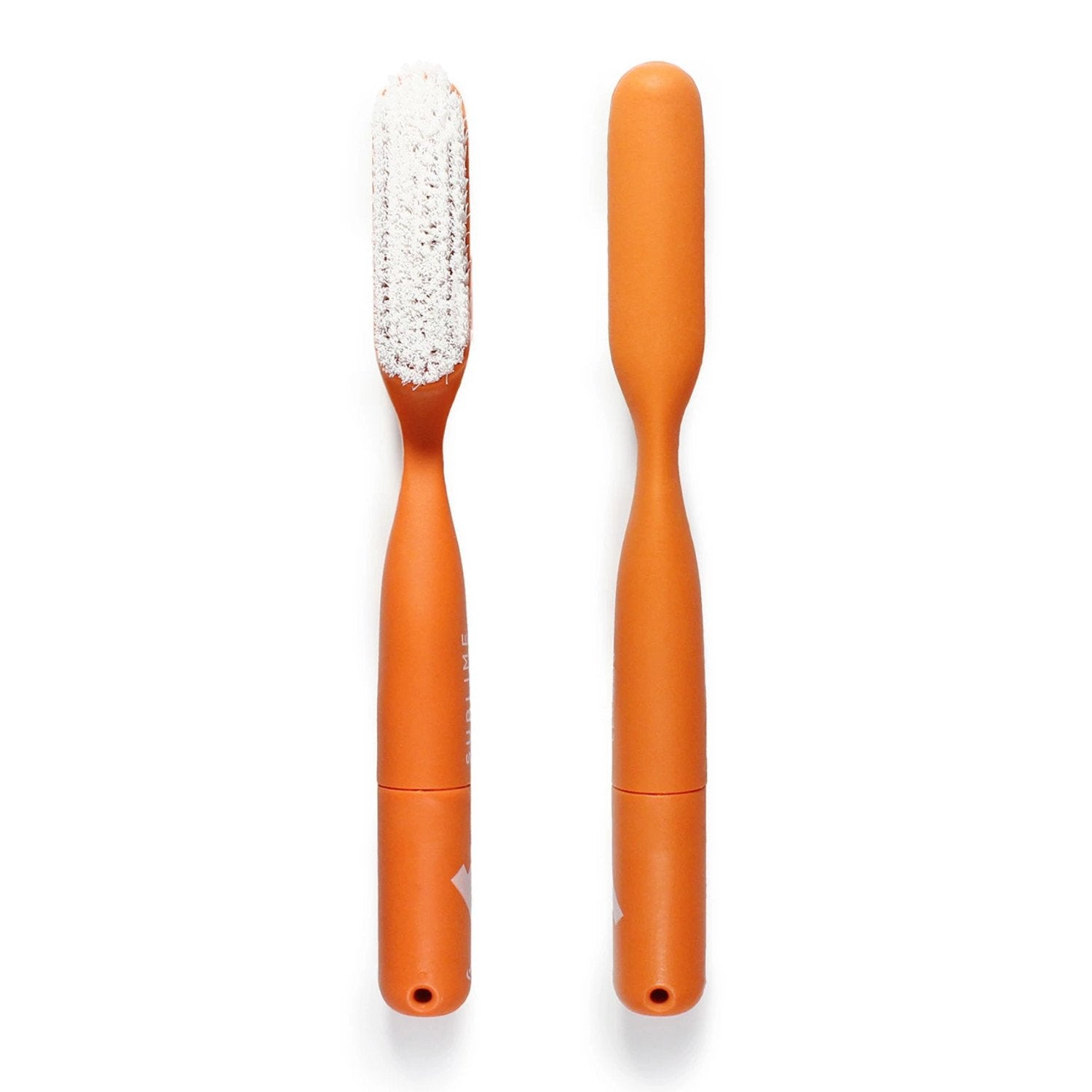 Sublime Climbing Nylon Brush, Front and back view with a Orange handle and white bristles