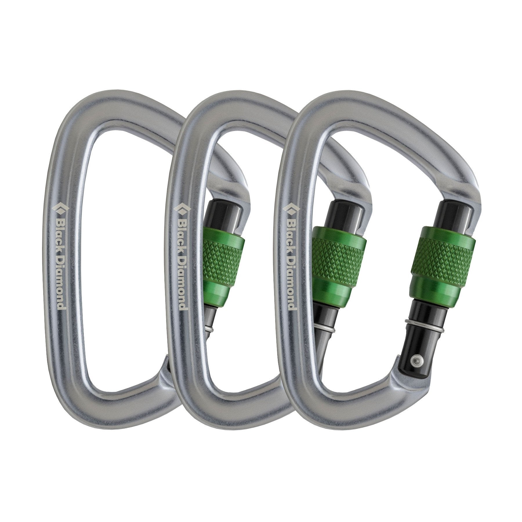 3 pack of the Black Diamond Positron Screwgate carabiner in Silver & Green colours