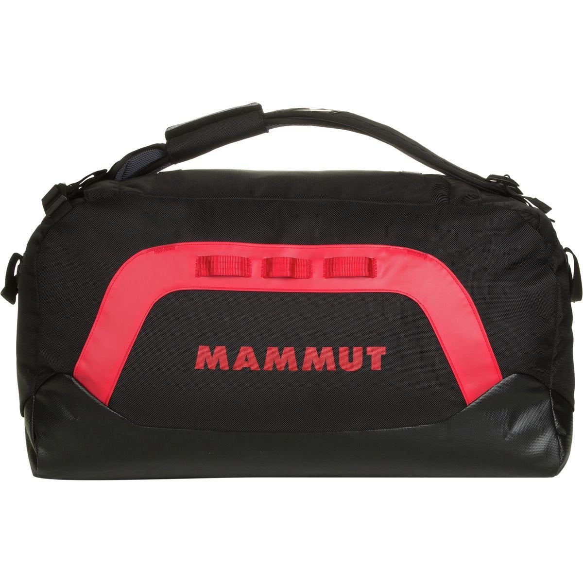 Mammut Cargon Holdall 40L, shown in carry mode in red/black colours