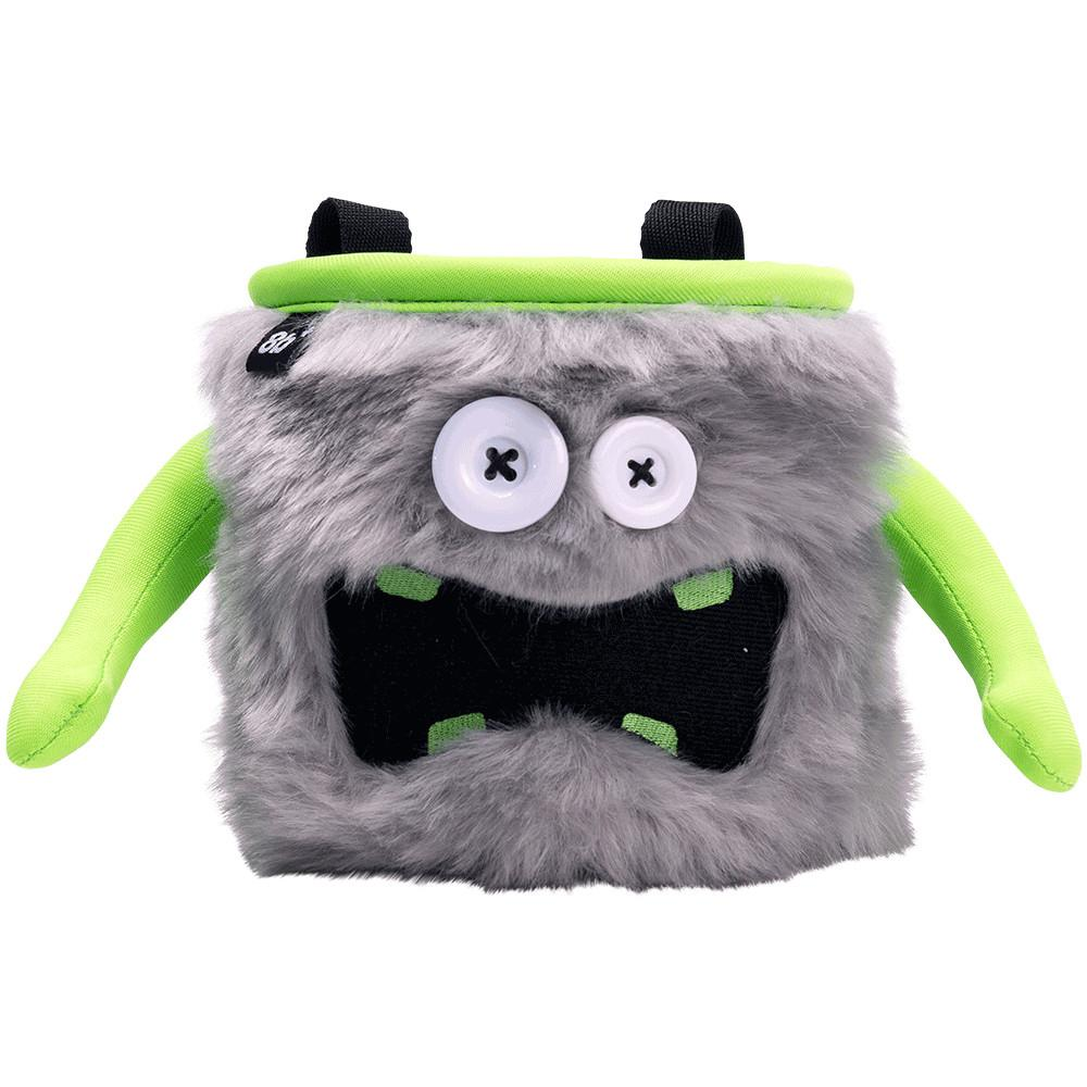 8BPlus Donald Chalk Bag, front view showing funny monster face, in grey and green colours