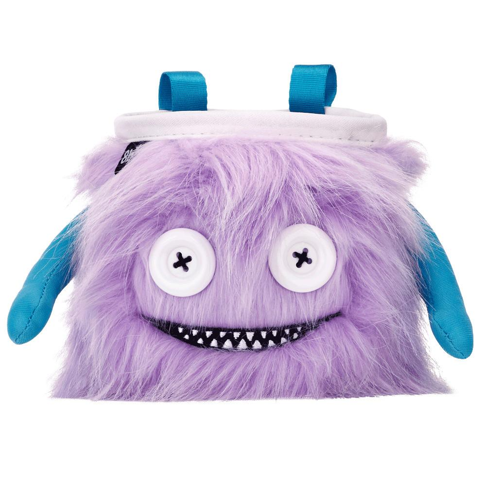 8BPlus Lilly Chalk Bag is a Purple monster chalk bag with blue arms and white button eyes