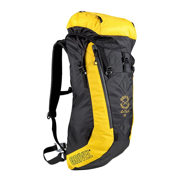 Grivel Air Tech 28L Rucksack, Front/side View in black and yellow colours