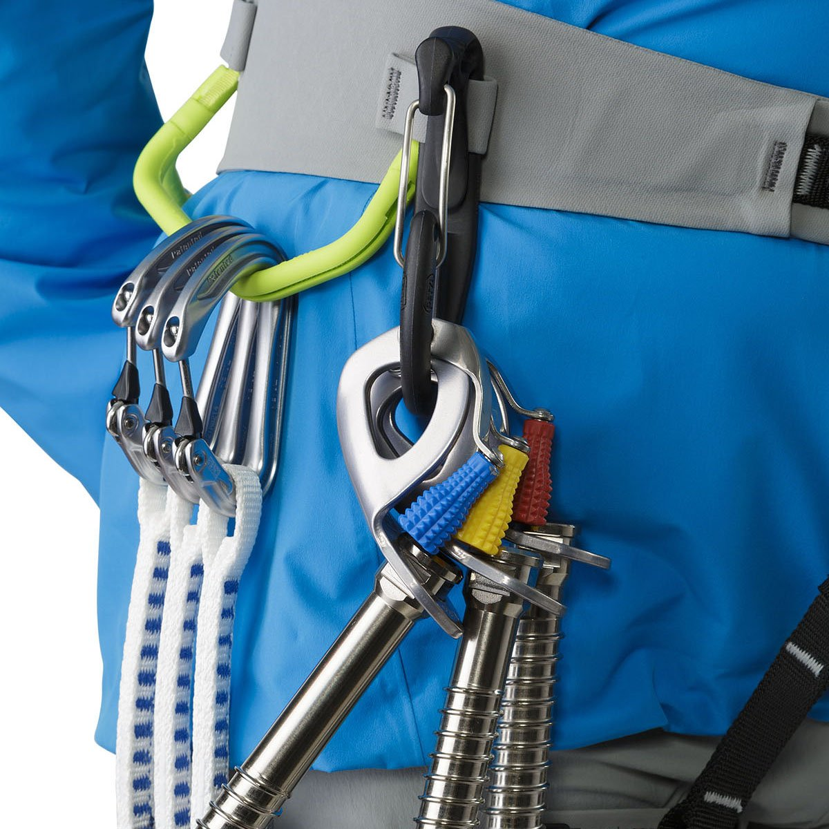 ArcTeryx AR-385a Womens Harness shown on model with gear attached to the gear loops