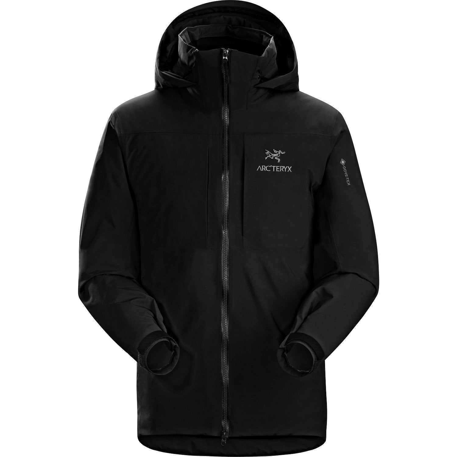 Arc'Teryx Fission SV Jacket, front view shown fully closed up, in black colour