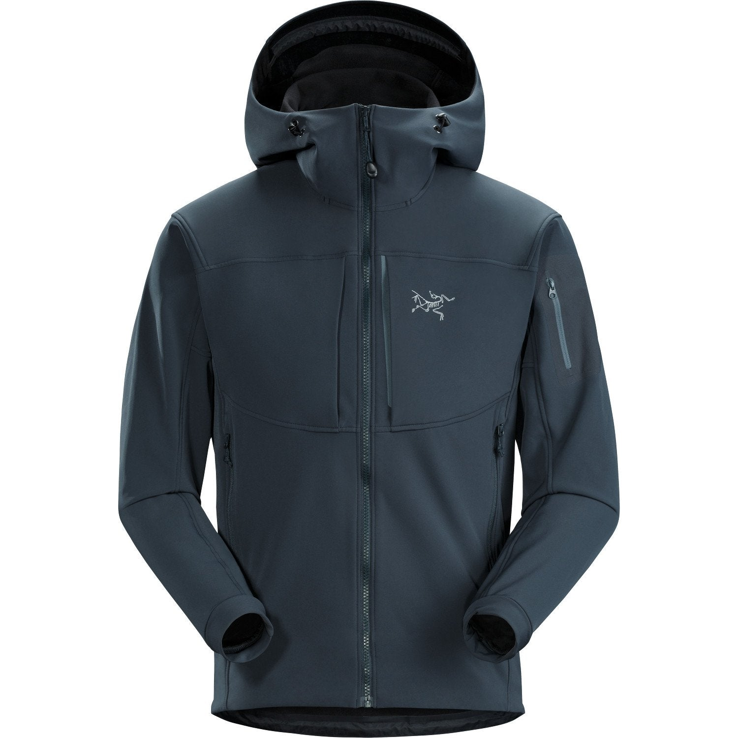 Front View of the Arc'Teryx Gamma MX Hoody in Steel Grey