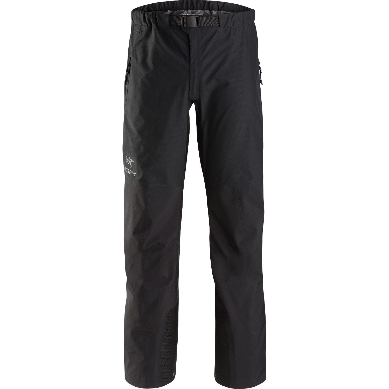 Front View of the Beta AR Pant in Black, showing Goretex outer, front zip and white logo