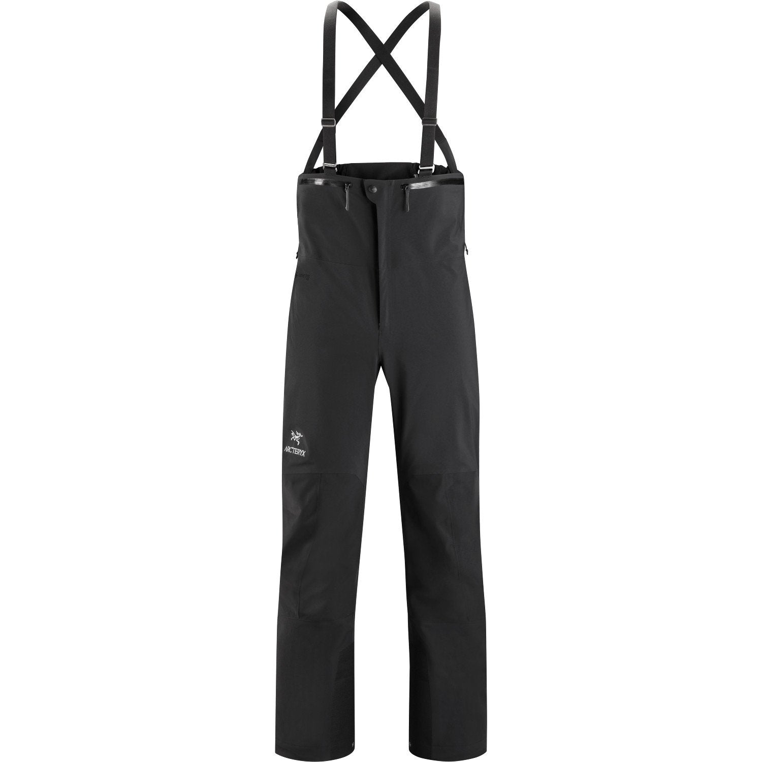 Front view of the ArcTeryx Beta SV Bib pant in Black colour