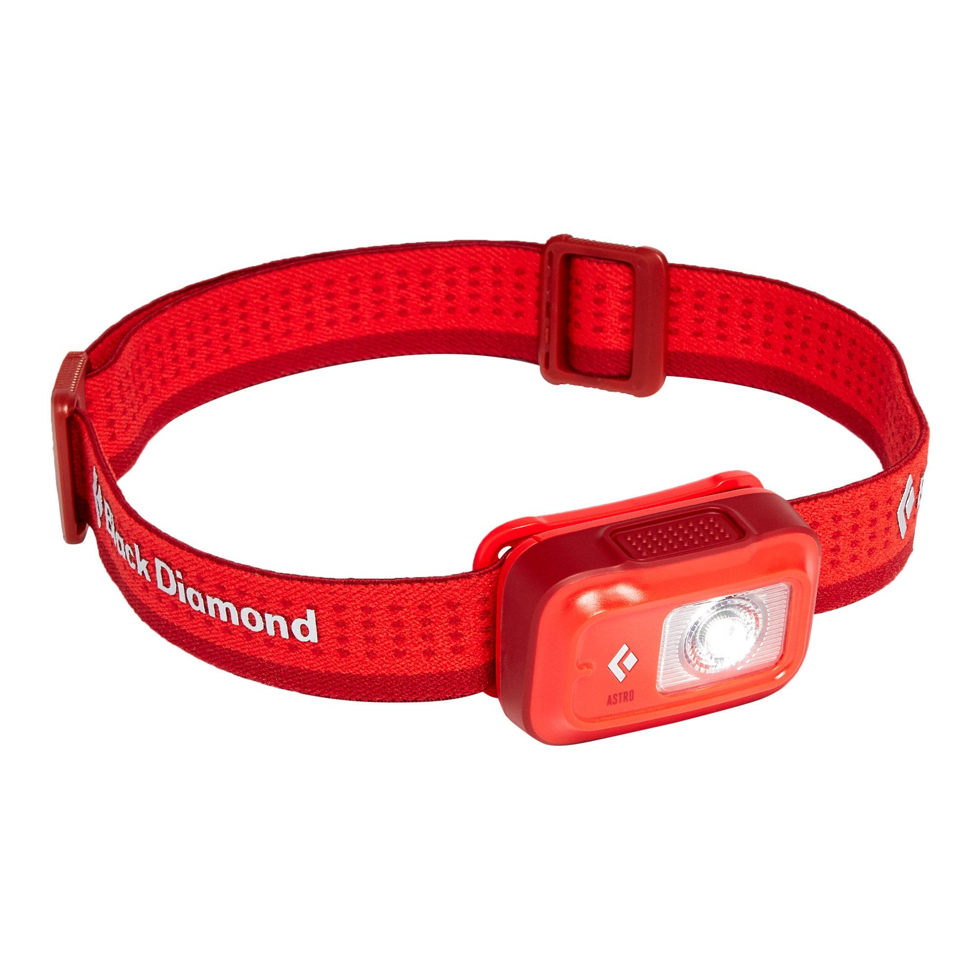 Black Diamond Astro 175 Head torch, front/side view in red colour