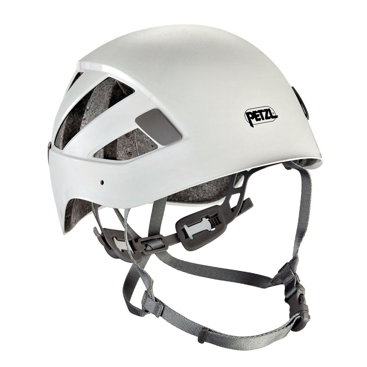 Petzl Boreo climbing helmet, front/side view in white colour with grey chin straps