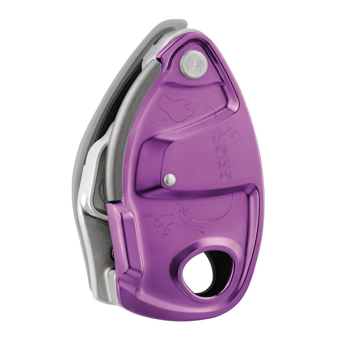 Petzl Grigri + climbing belay device, in purple colour