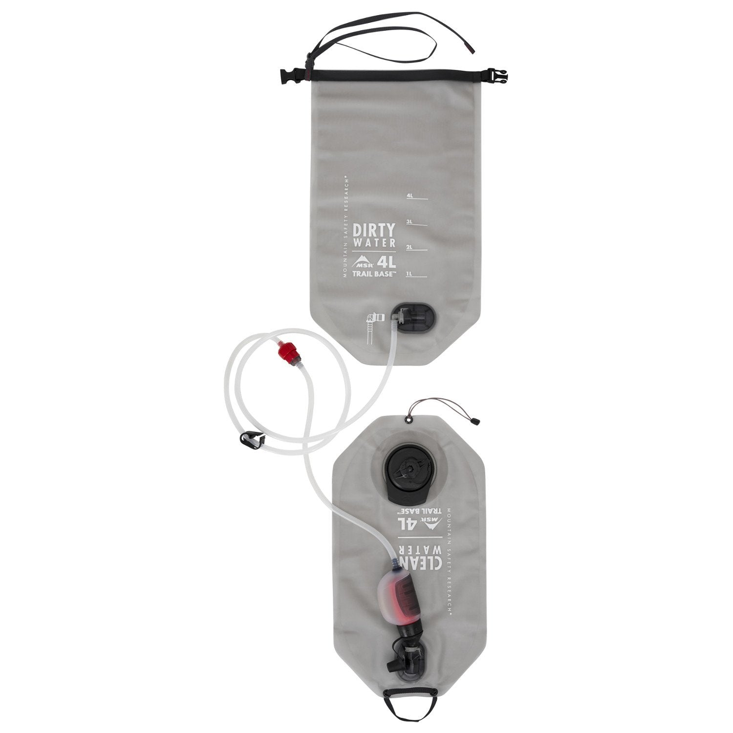 MSR Trail Base Water Filter 4L in Grey colour shown hanging