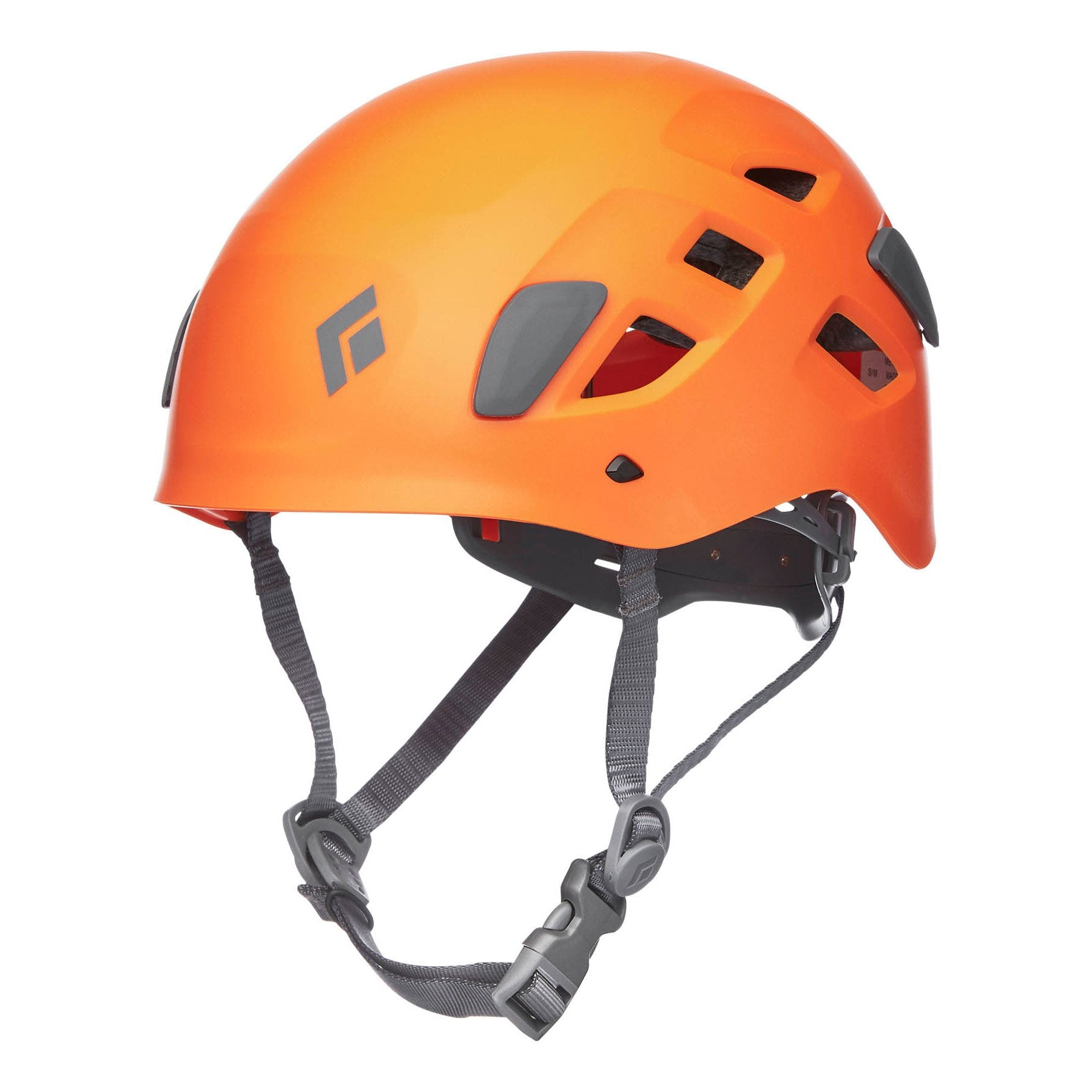 Black Diamond Half Dome climbing helmet, front/side view in orange colour with grey chin strap
