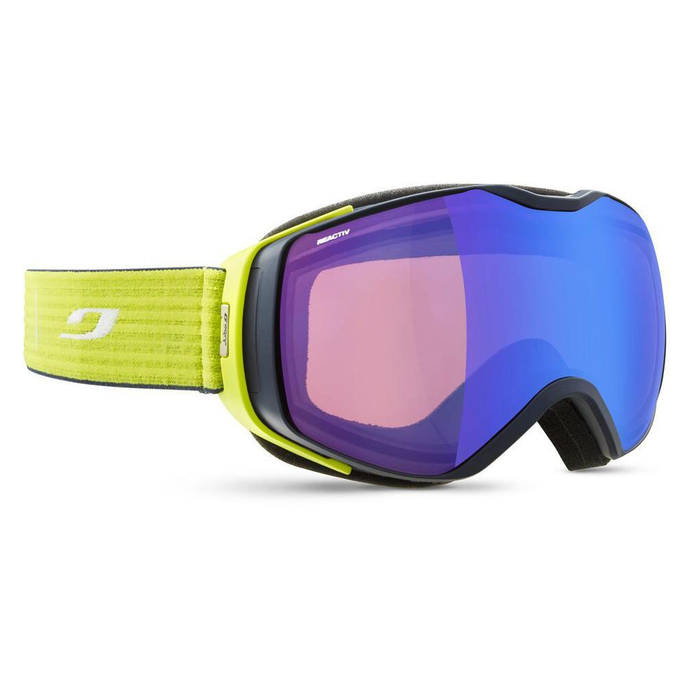 Julbo Universe Reactiv Performance Cat 1-3 Goggles, front/side view in Blue/Yellow