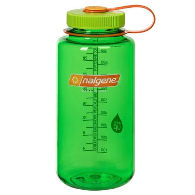 Nalgene Tritan Wide Mouth 1 Litre Bottle, with see-through green bottle and green lid