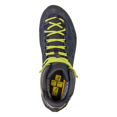 Salewa Rapace GTX Mountaineering Boot in Night Black, demonstrating boot, birds eye showing laces