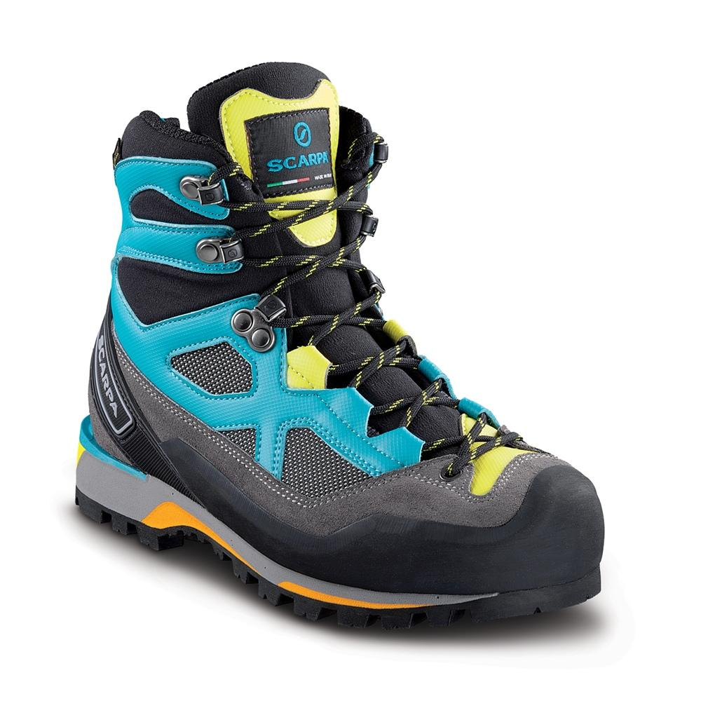 Scarpa Rebel Lite GTX Womens mountaineering boot, in black, grey and blue colours