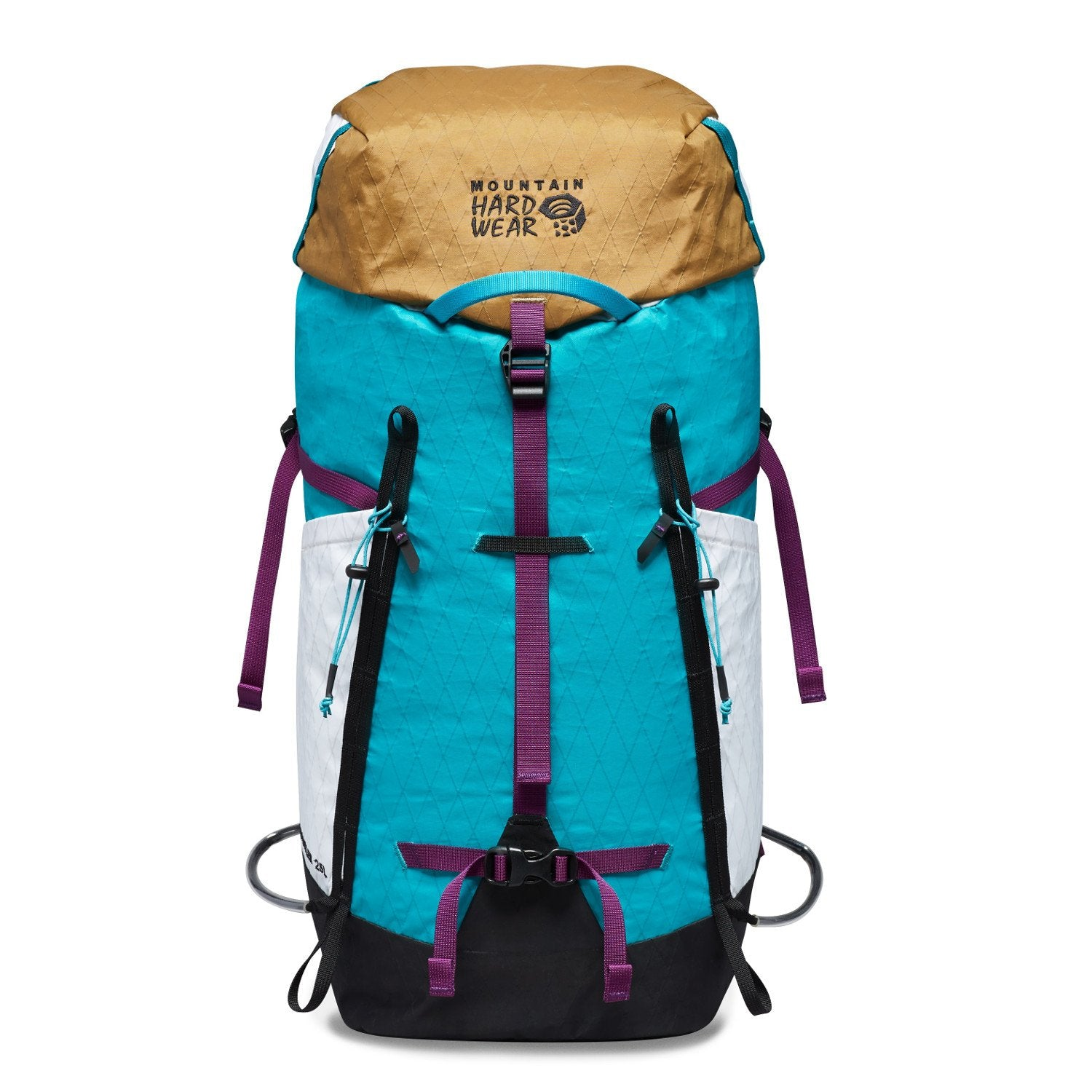 Mountain Hardwear Scrambler 25 rucksack, front view in Gold, Teal, White & Purple colours