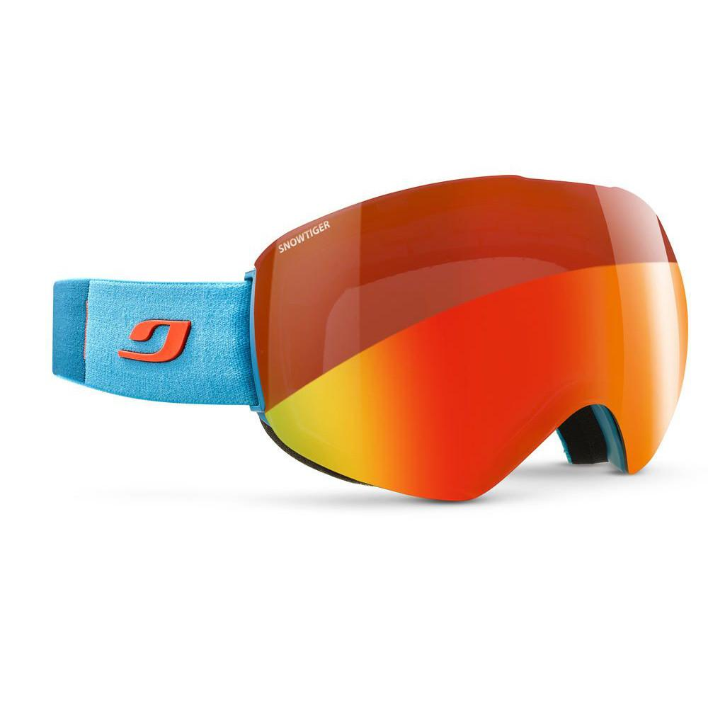 Julbo Skydome SnowTiger goggles, in red/orange colours and a blue strap