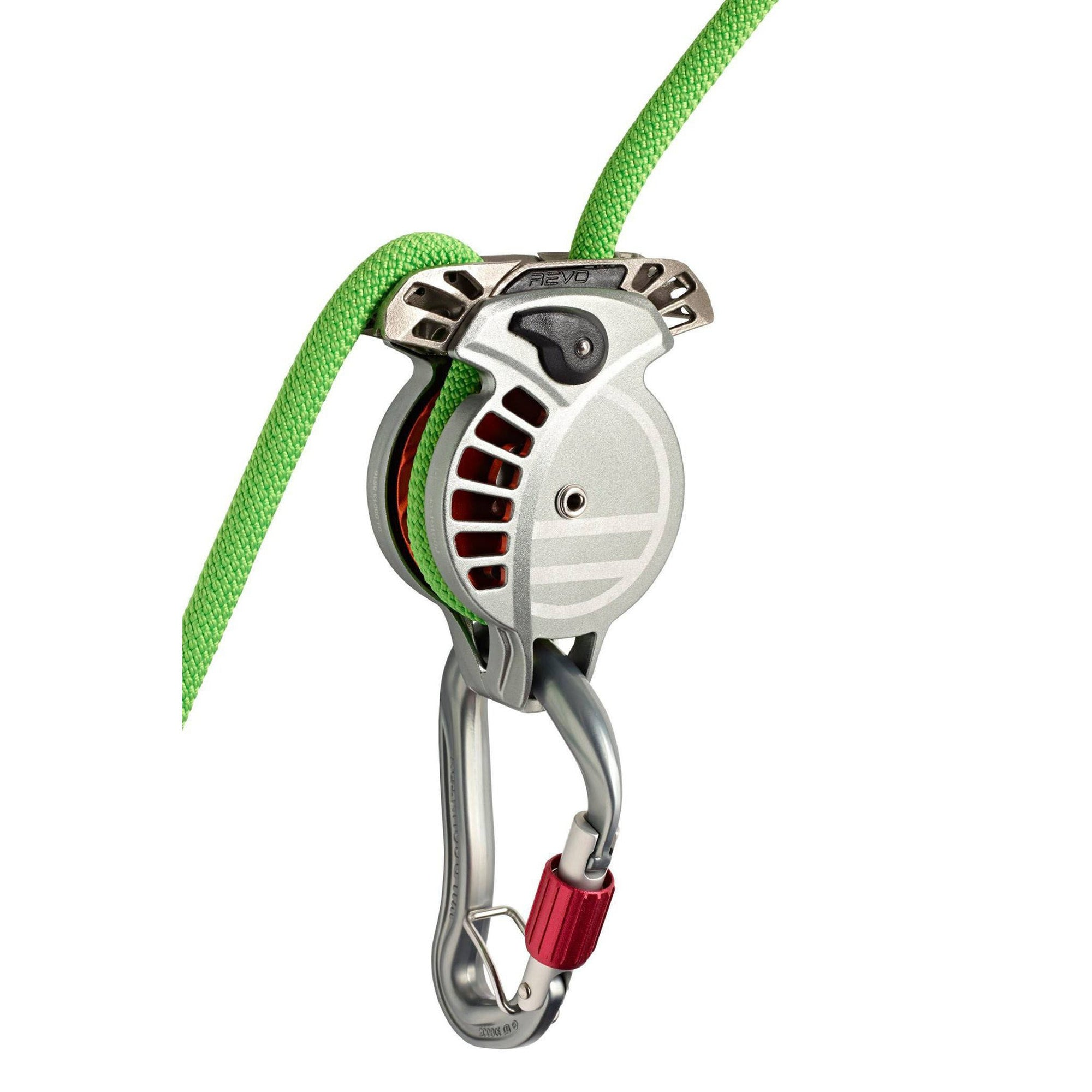 Wild Country REVO belay device, shown in use with a green rope and silver carabiner