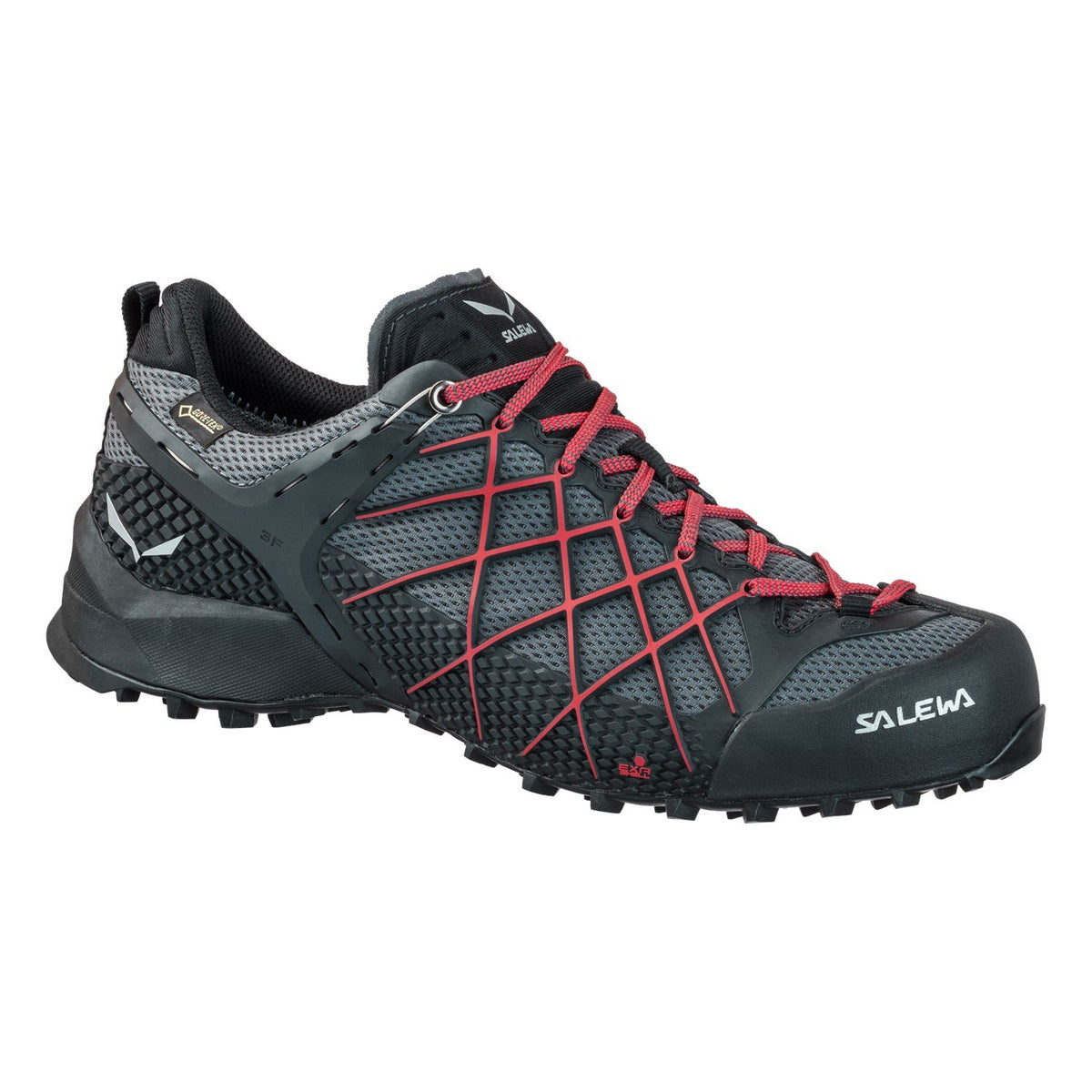 Salewa Wilfire GTX technical approach shoe in Black/red colours, outer side view.