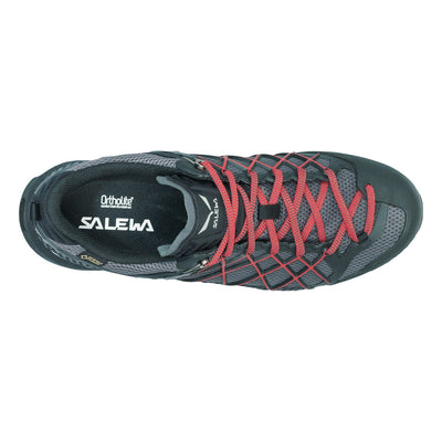 Salewa Wilfire GTX approach shoe in Black out, as seen from above, demonstrating climbing lacing