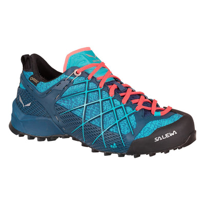 Salewa Wildfire GTX Womens approach shoe, in blue/red colours, outer side view