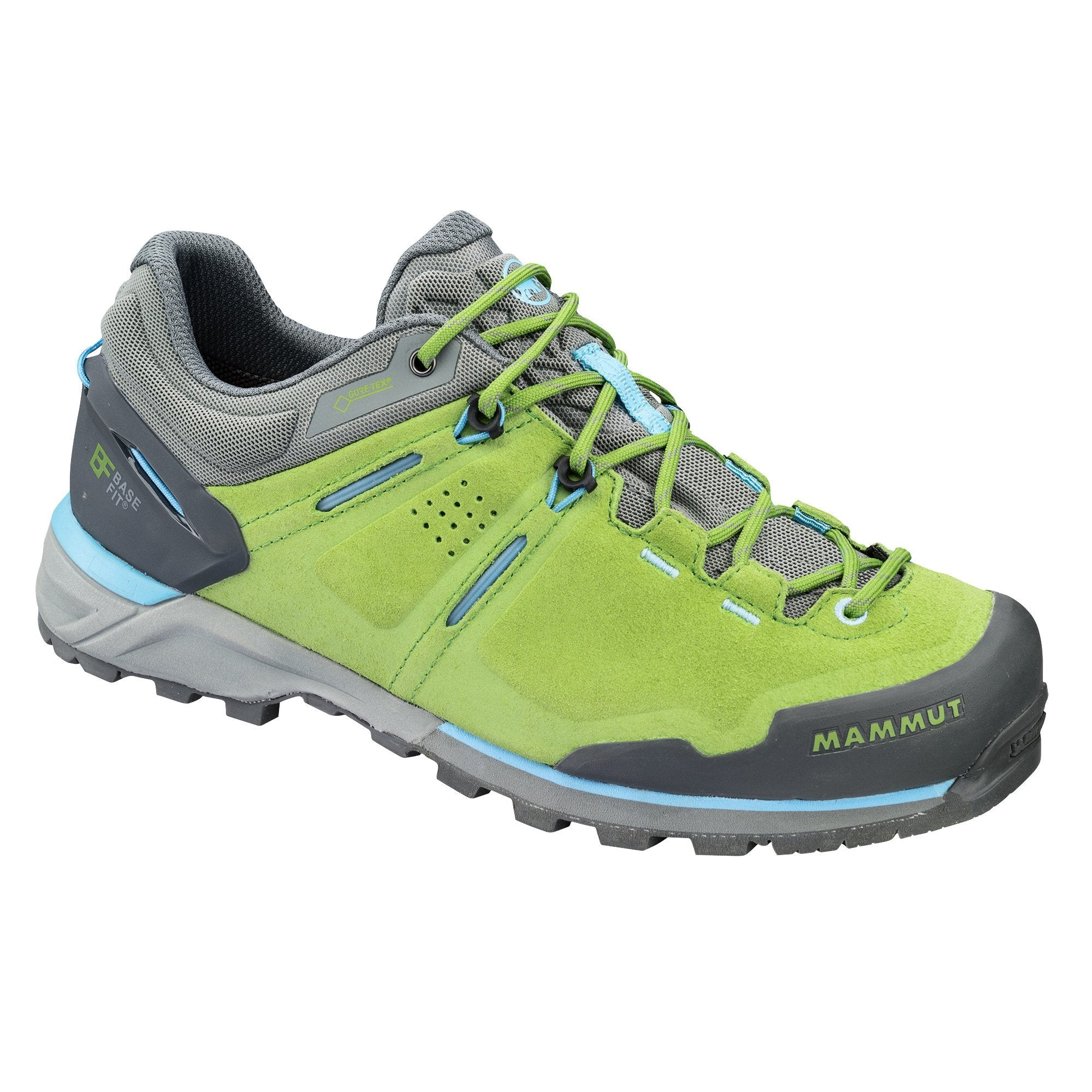 Mammut Alnasca Low GTX Womens approach shoe in green and grey colours, outer side view