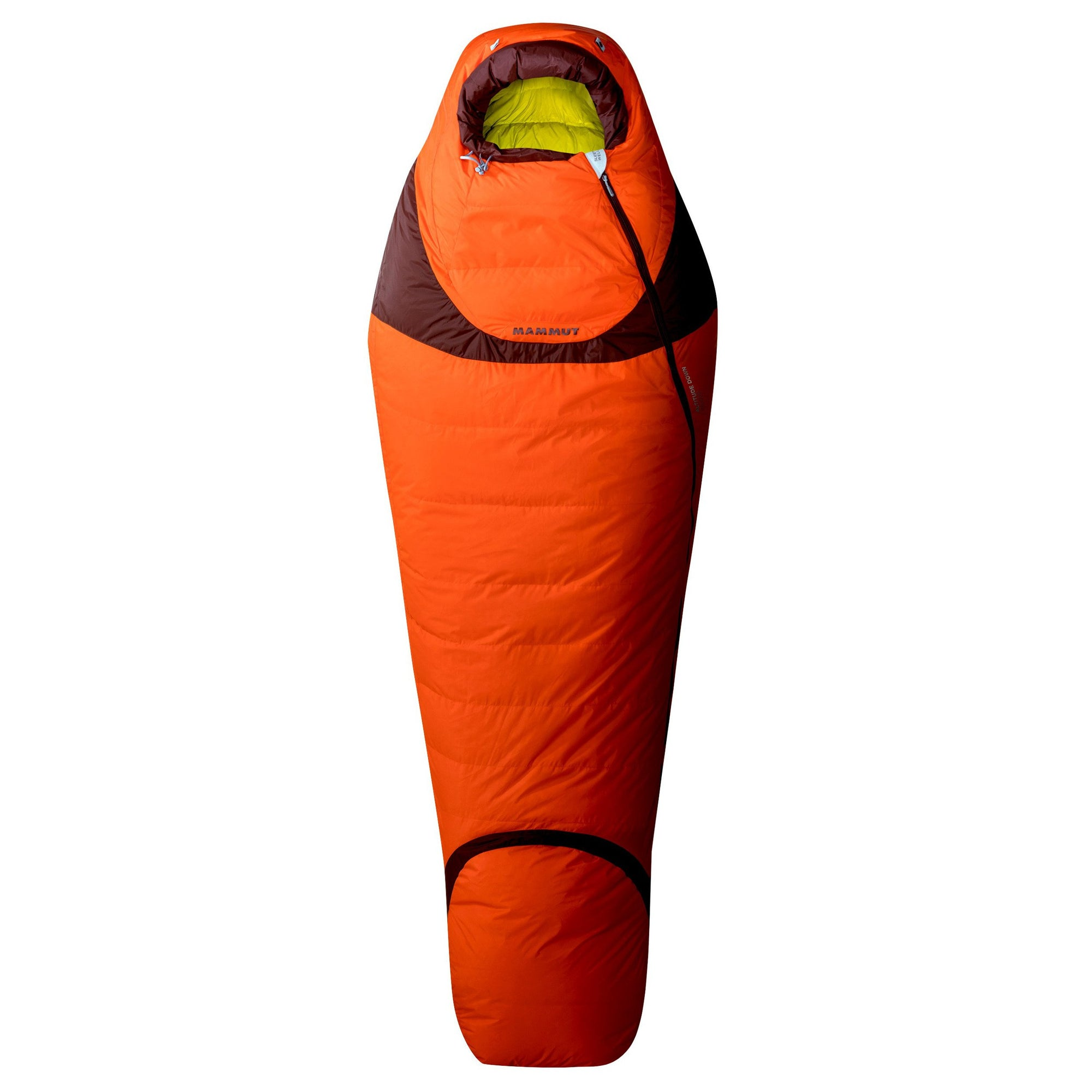 Mammut Altitude Down Winter shown laid flat and fully closed, in orange colour