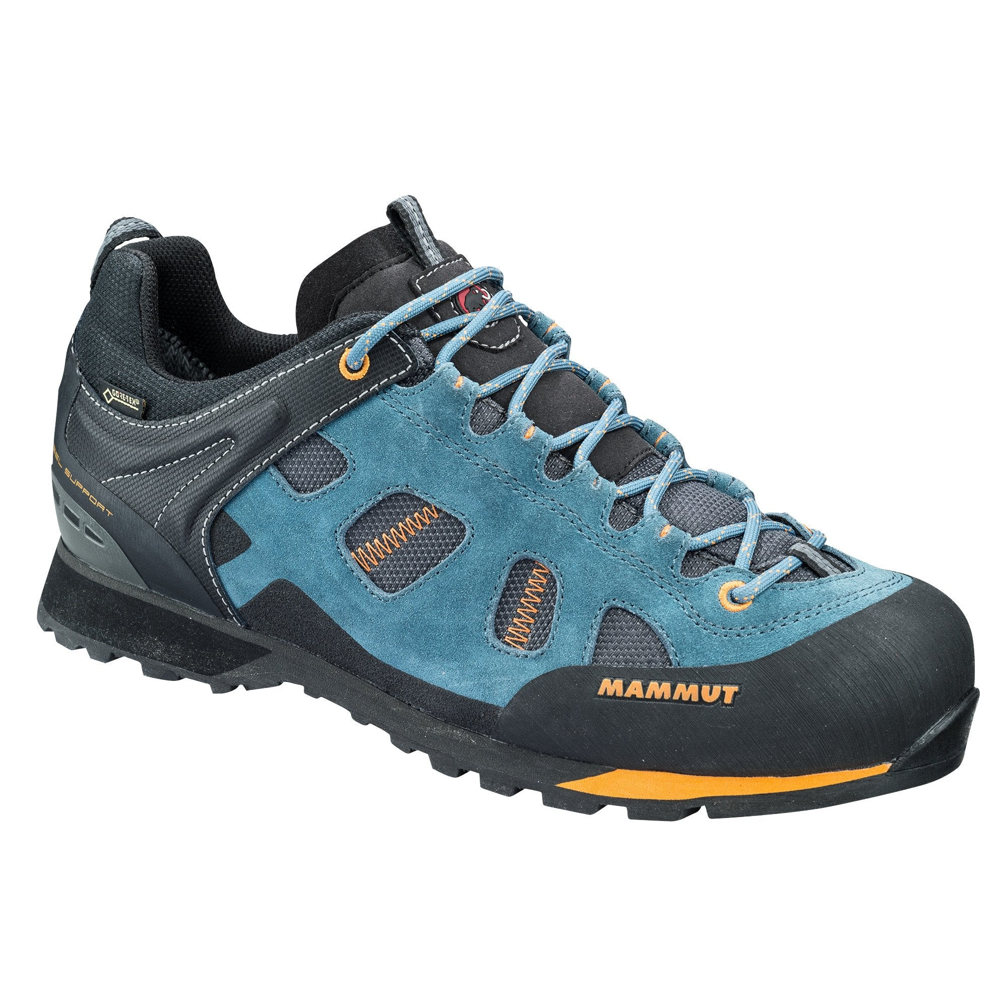 Mammut Ayako Low GTX approach shoe in blue/black colours, outer side view